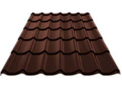 Металлочерепица МП СТАНДАРТ Полиэстер 25 мкм 0,45 (RAL 8017 Коричневый шоколад)